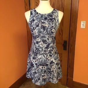 Retro Y2K oriental flowers blue summer dress